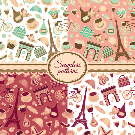 Collection of seamless patterns with Paris landmarks and France symbols vector illustration Vector