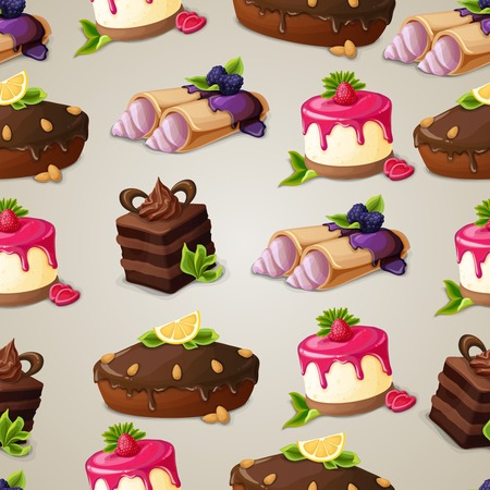 chocolate syrup: Decorative sweets dessert seamless pattern with layered cake crepes cream vector illustration Illustration