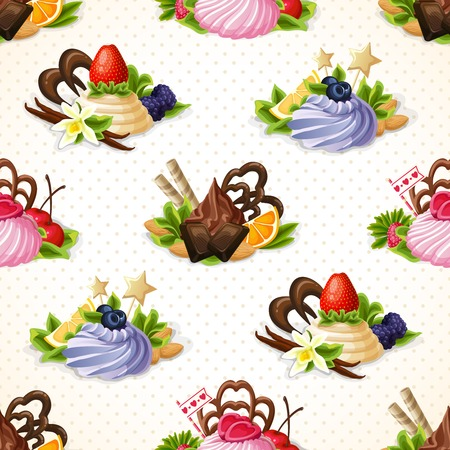 chocolate syrup: Decorative sweets dessert food seamless pattern with chocolate berry and vanilla cream vector illustration Illustration
