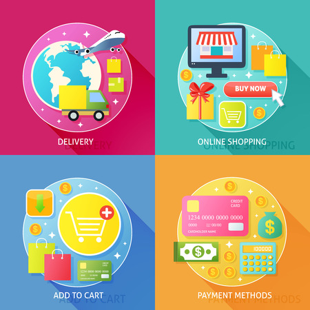 add to shopping cart icon: Business process concept of delivery online internet shopping add to cart and payment methods icons set vector illustration Illustration