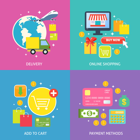 Business process concept of online internet shopping payment delivery flat icons set vector illustration Vector