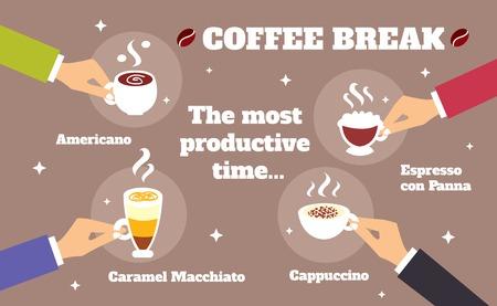 cappucino: Koffiepauze bedrijfsleven de handen met espresso cappuccino kopjes vectorillustratie