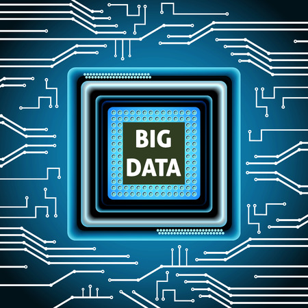Big data microchip computer electronics cpu background vector illustration Illustration