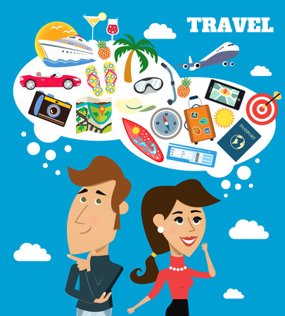 caricaturas de personas: Mujer alegre vida y hombre de negocios con bocadillo sueños de viaje escena ilustración vectorial