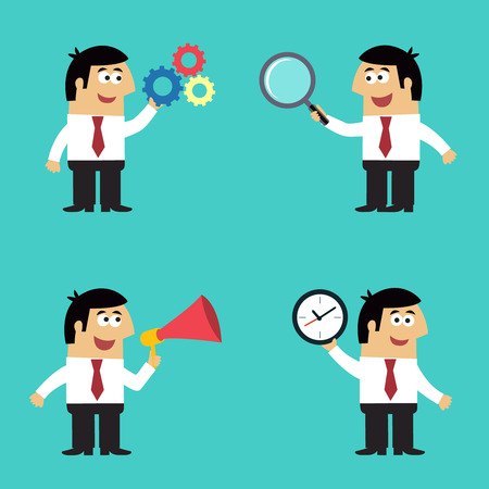 office life: Business life employee in suit with gears magnifier megaphone clock office gadgets set isolated vector illustration