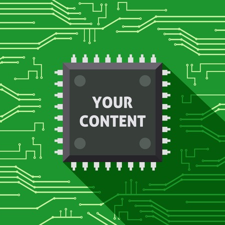 Your content microchip computer electronics cpu flat background vector illustration Vector