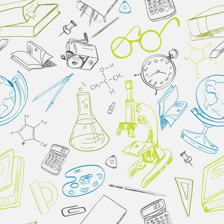 compasses: School education seamless pattern with chemical formula globe glasses vector illustration