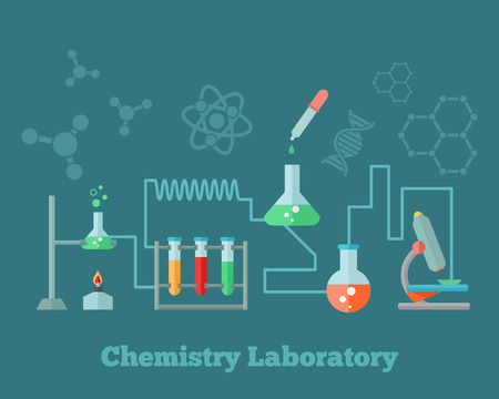 chain reaction: Chemistry education research laboratory equipment microscope emblem with background dna molecule structure formulas concept poster vector illustration