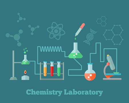 quimica organica: Educación Química microscopio equipos de laboratorio de investigación emblema con la ilustración de fondo la estructura molécula de dna fórmulas concepto cartel vector Vectores