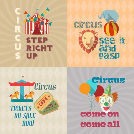 circus caravan: Four retro travel chapiteau circus clown entertaiment exotic animals performance icons composition poster flat isolated vector illustration Illustration