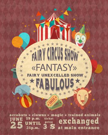 Decorative vintage travelling entertainment circus fabulous magic clown show performance advertisement template placard poster design vector illustration Vector