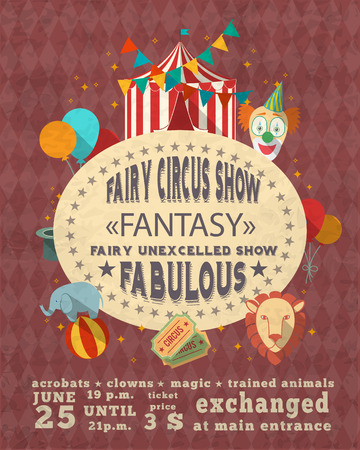 free time: Decorative vintage travelling entertainment circus fabulous magic clown show performance advertisement template placard poster design vector illustration