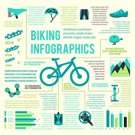 Bicycle bike sport fitness icons infographic set with charts and diagrams vector illustration Vector