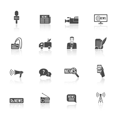 news van: Press news  broadcasting newspaper reporter microphone and computer chat bubble design graphic isolated illustration icons set