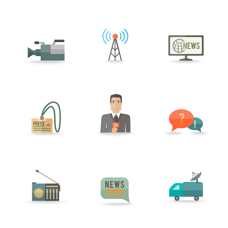 news van: Decorative actual news live journalism operator strategic equipment camera logo card design icons set flat isolated illustration Illustration