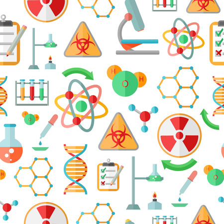 reaction: Decorative abstract chemistry  dna research symbols and microscope code formulas seamless background pattern design flat vector illustration Illustration