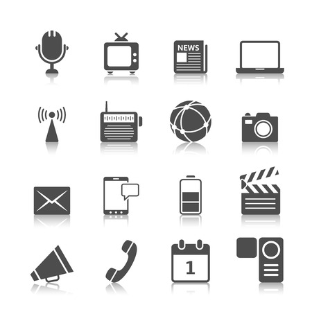 Social media icons set of mobile network computer camera and microphone recorder isolated vector illustration Ilustracja