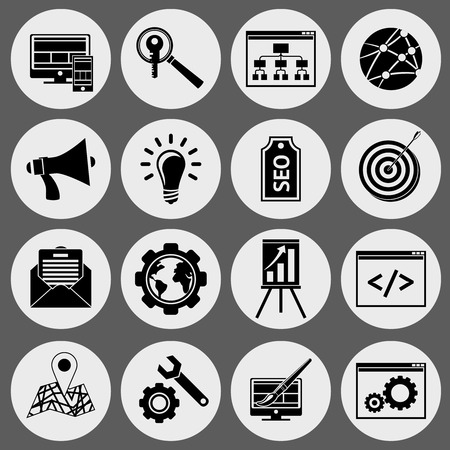 SEO mobile computer website optimization icons black set isolated vector illustration Vector