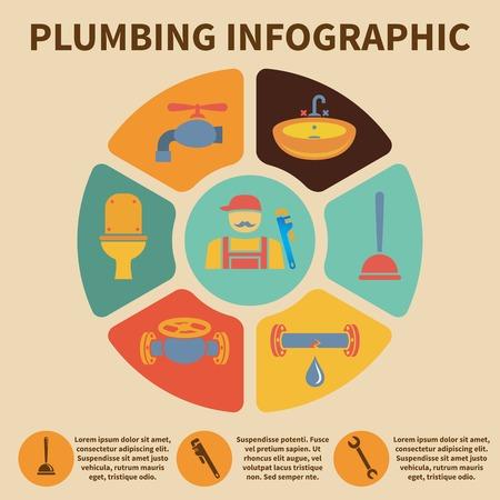 plumbing repair: Plumbing service infographic icons set pith pie chart vector illustration