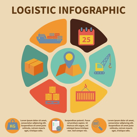 supply chain: Logistic freight service infographic icons set on pie chart vector illustration