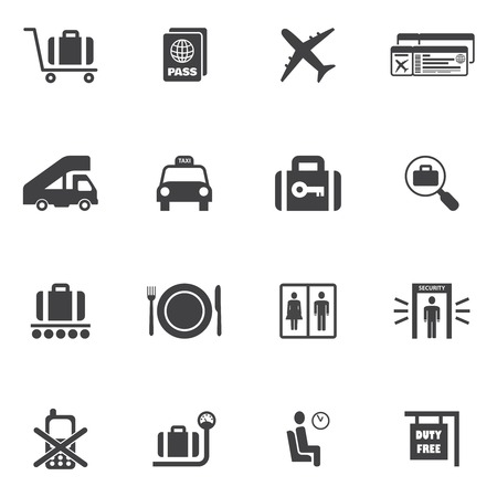 airport security: Airport icon set of airplane suitcase security check lounge isolated vector illustration Illustration