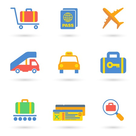Airport icon flat set of transportation travel vehicle isolated vector illustration. Vector