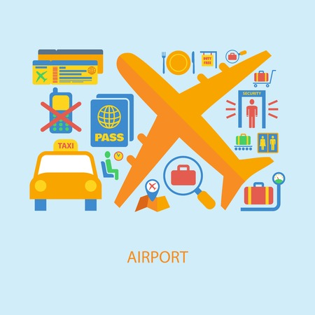 luggage tag: Airport flat concept set of airplane taxi passport ticket icons vector illustration Illustration
