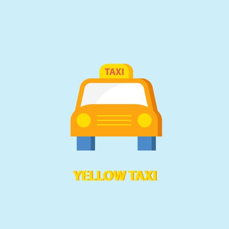Yellow taxi cab passenger car icon isolated on blue background vector illustration Vector