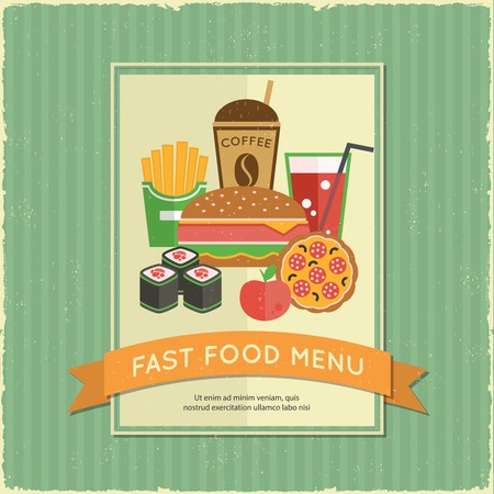 Retro fast food menu poster with ribbon and sandwich french fries drink vector illustration