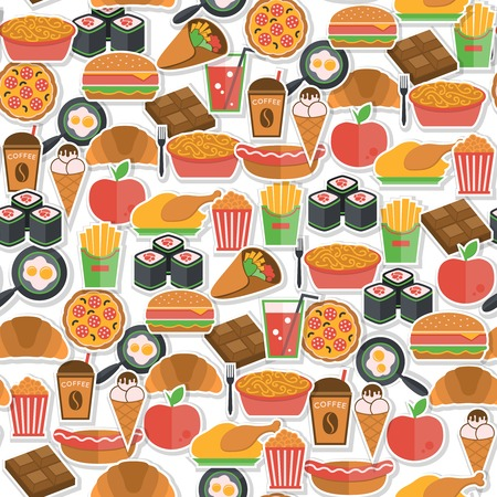 junk food fast food: Fast food stickers icons seamless pattern with pizza icecream croissant  vector illustration Illustration