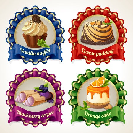 vanilla pudding: Decorative sweets ribbon banners set with vanilla muffin cheese pudding isolated vector illustration