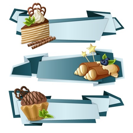 chocolate mint: Decorative sweets food paper banners set with layered cake crepes chocolate  muffin dessert isolated vector illustration