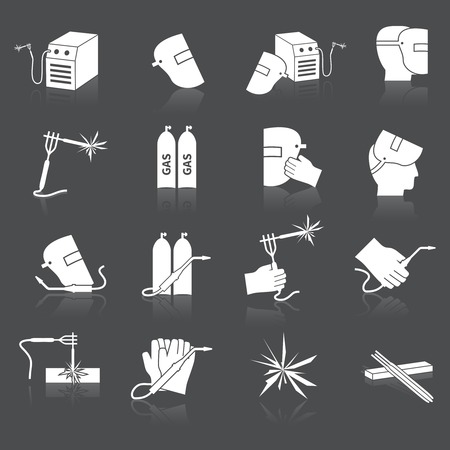 welding worker: Welder industry industrial tools safety and protection icons set isolated vector illustration.