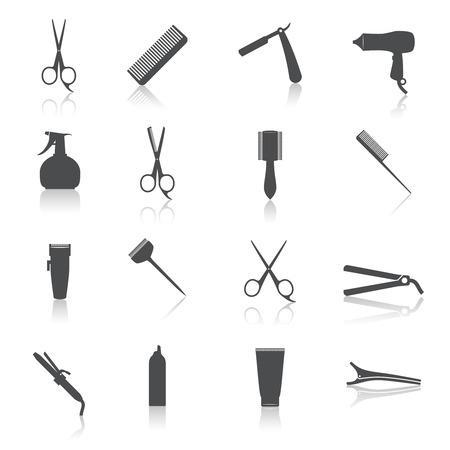 Accessori per lo styling Parrucchiere professionista icona taglio di capelli set isolato illustrazione vettoriale Vettoriali