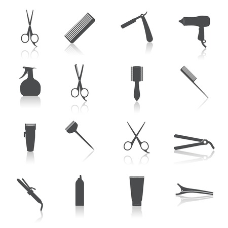 peluqueria: Aislado accesorios labradores Peluquero profesional conjunto de iconos haircut ilustración vectorial Vectores