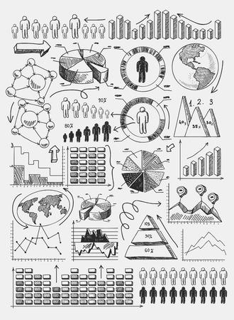Sketch diagrams charts dot bar pie graphs infographics  set doodle vector illustration Illustration
