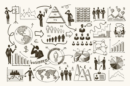 ビジネス組織管理プロセス人インフォ グラフィック図ベクトル イラスト スケッチします。