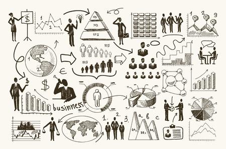 Schets bedrijfsorganisatie management proces mensen infographic met grafieken vector illustratie