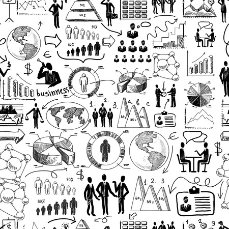 sketch: Sketch business organization management process seamless pattern doodle vector illustration