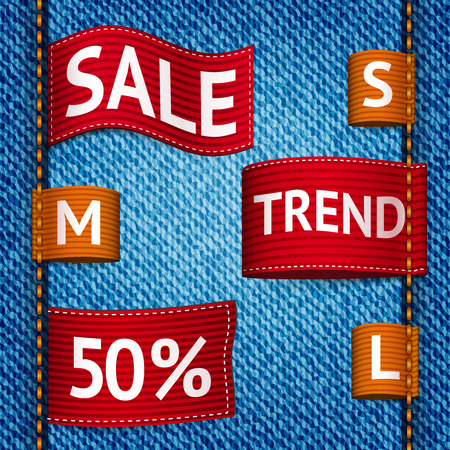 xs: Clothing size trend sale colored label ribbon set on denim background vector illustration Illustration