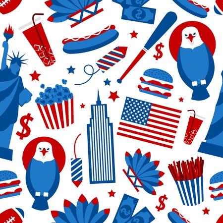 statue of liberty: New York USA set of liberty statue skyscraper fast food seamless pattern vector illustration Illustration