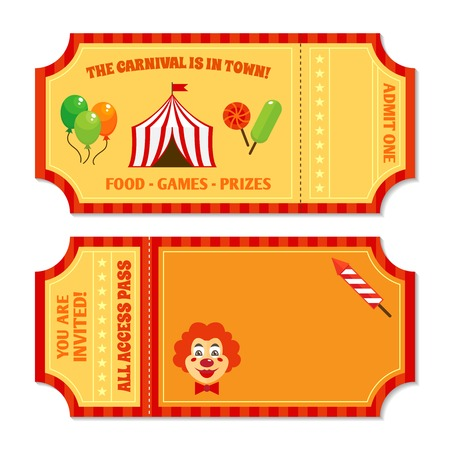 magic trick: Two vintage circus tickets with clown pavilion tent balloons and candy isolated vector illustration