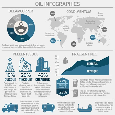 oil well: Global crude oil drilling and refining industrial process petroleum production distribution business infographic statistic presentation vector illustration Illustration