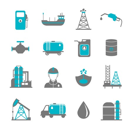 fuel economy: Oil extraction gas production transportation and distribution pictograms collection with industrial complex petroleum pump isolated vector illustration