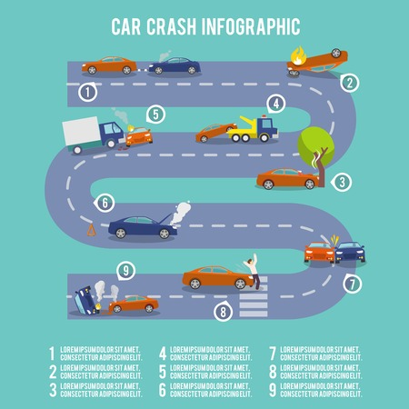 car crash: Auto-ongeluk infographic set met beschadigde auto brandend voertuig vector illustratie
