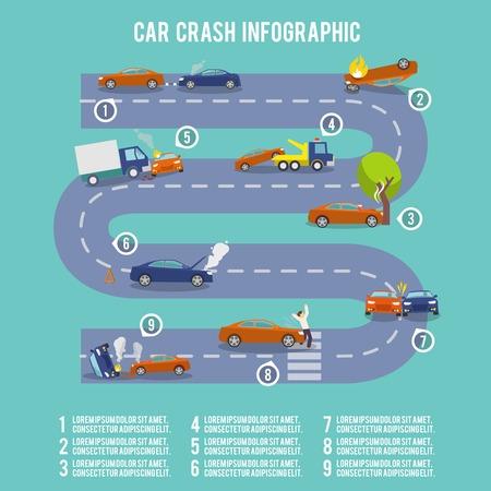 car crash: Car crash infographic set with damaged auto burning vehicle vector illustration