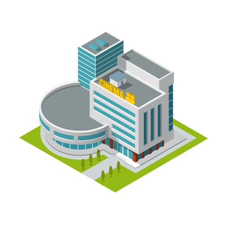 Modern 3d urban cinema theatre building with architectural elements isometric isolated vector illustration Vector
