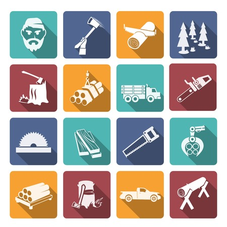 timber cutting: Lumberjack woodcutter flat icons set of carpentry equipment isolated vector illustration