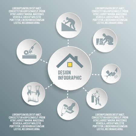 roofer: Roofer house improvement profession paper infographic elements vector illustration Illustration