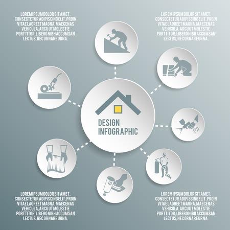 Roofer house improvement profession paper infographic elements vector illustration Illustration